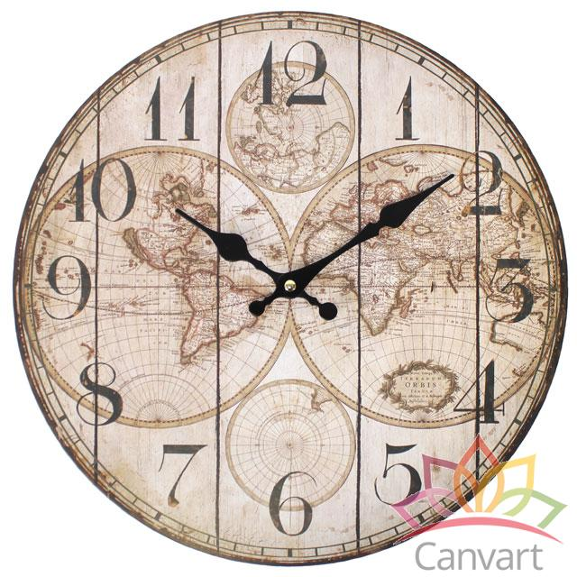 Large Shabby Chic Wooden Wall Clock Kitchen Home Office