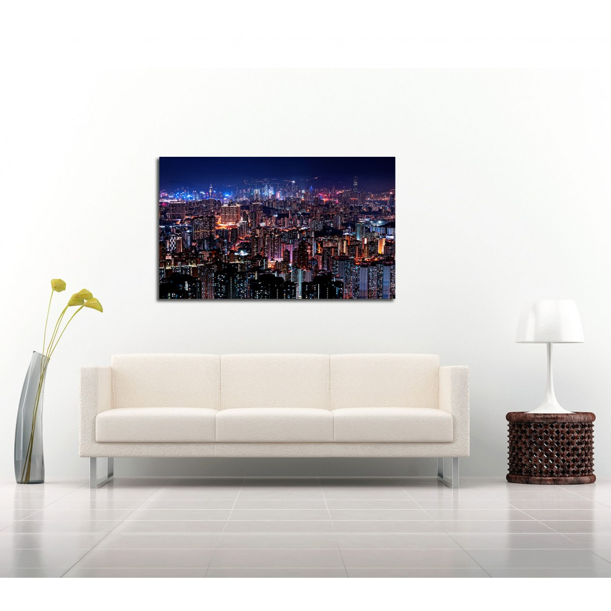 Wall Decoration Hk : Canvart hong kong skyline framed canvas wall art picture