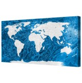 "Ice World Map Framed Canvas Wall Art Picture 18"" x 32"""