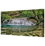 "Krushuna Waterfall Framed Canvas Wall Art Picture 18"" x 32"""