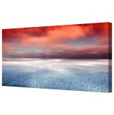 "Icy Ocean Framed Canvas Wall Art Picture 14"" x 24"""