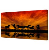 Dancing Wild Horses At Dusk Giclee Framed Canvas Print