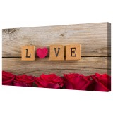 Red Love Heart And Rose Flowers Canvas Print Wall Art