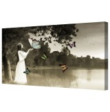 Lovely Woman At Butterfly Lake Framed Canvas Wall Art Picture
