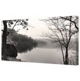"Misty Morning Lake Framed Canvas Wall Art Picture 18"" x 32"""