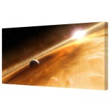 "Planet Rings & Sun Framed Canvas Wall Art Picture 18"" x 40"""