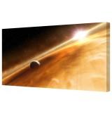 "Planet Rings & Sun Giclee Framed Canvas Print 18"" x 40"""