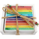 Handmade Summer Stripe Rainbow Mosaic Coasters with Ceramic Glass Tiles & Holder (Set of 4)