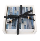 Handmade Blue Lagoon Mosaic Coasters with Ceramic Glass Tiles & Holder (Set of 4)