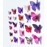 3D Butterfly Wall Art Mural Pink/Purple (12 Pack)