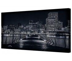 Steel Night Cityscape Framed Canvas Wall Art Picture