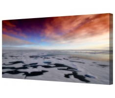 Icy Antarctic Sun Seascape Framed Canvas Wall Art Picture