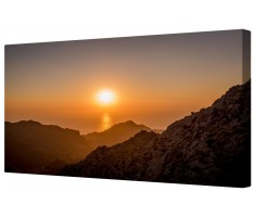 Mountain Valley Sunset Framed Canvas Wall Art Picture