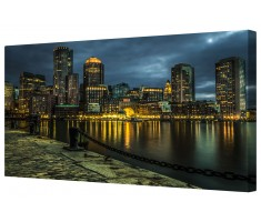 City Waterfront At Night Framed Canvas Wall Art Picture