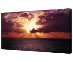 Dramatic Orange Ocean Horizon Framed Canvas Wall Art Picture