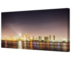Urban Illuminated City Nightlife Framed Canvas Wall Art Picture