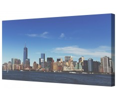 Manhattan Skyline New York Framed Canvas Wall Art Picture