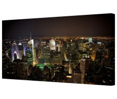 New York Skyline By Night Framed Canvas Wall Art Picture