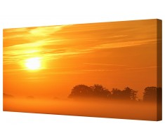 Orange Misty Sun Framed Canvas Wall Art Picture