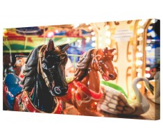 Funfair Horses Carousel Ride Black/Brown Framed Canvas Wall Art Picture