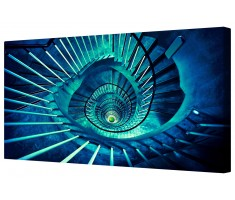 Blue Spiral Staircase Framed Canvas Wall Art Picture