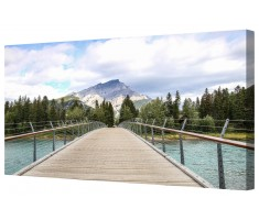 Bridge To The Mountain Framed Canvas Wall Art Picture