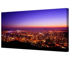 Vibrant City Skyline Framed Canvas Wall Art Picture
