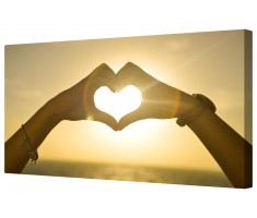Sun Heart Hands Framed Canvas Wall Art Picture