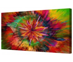 Abstract Colourful Star Pattern Framed Canvas Wall Art Picture