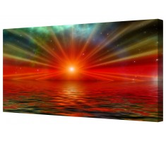 Abstract Sun Rays Pattern Framed Canvas Wall Art Picture