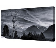 Tranquil Mountain Peaks Framed Canvas Wall Art Picture