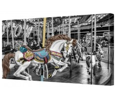 Funfair Horses Carousel Ride Black/White Framed Canvas Wall Art Picture