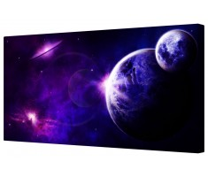 Planet and Moon in Starry Space Galaxy Framed Canvas Wall Art Picture