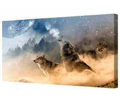 Howling At The Moon Framed Canvas Wall Art Picture