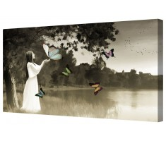 Retro Lady Of The Lake Framed Canvas Wall Art Picture