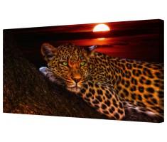 Green Eyes Leopard Framed Canvas Wall Art Picture