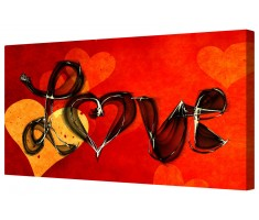 Hearts And Love Canvas Wall Art Picture