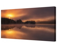 Misty Lake Morning Sun Canvas Wall Art Picture