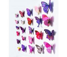 3D Butterfly Wall Art Mural Pink/Purple (12 Pack)