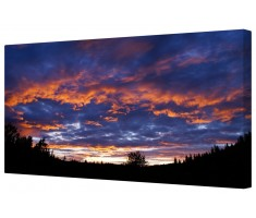 Red & Blue Forest Skyline Framed Canvas Wall Art Picture