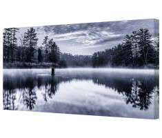 Misty Blue Lake Framed Canvas Wall Art Picture
