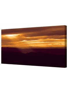 Golden Cloudy Sunset Framed Canvas Wall Art Picture