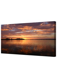 Tranquil Lake Sunset Framed Canvas Wall Art Picture