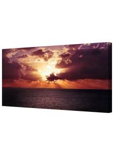 Dramatic Orange Ocean Horizon Framed Canvas Wall Art Picture
