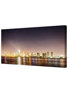 Urban Illuminated City Nightlife Framed Canvas Wall Art Picture