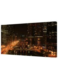 City Night Metropolis Framed Canvas Wall Art Picture