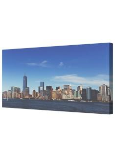 Manhattan Skyline New York Framed Canvas Wall Art Picture