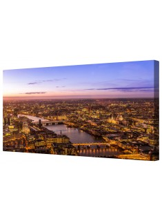 London at Night Framed Canvas Wall Art Picture