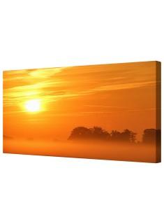 Orange Misty Sun Framed Canvas Wall Art Picture
