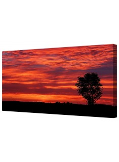 Red Sky At Night Sunset Framed Canvas Wall Art Picture